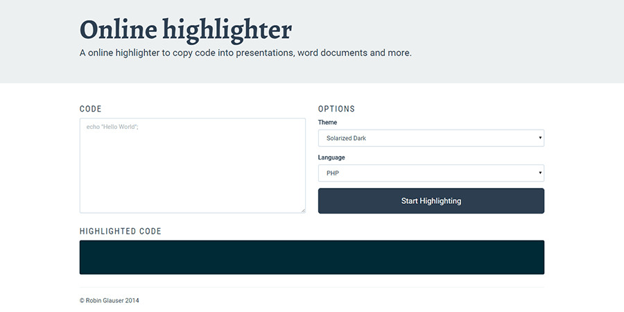 Screenshot of online highlighter project